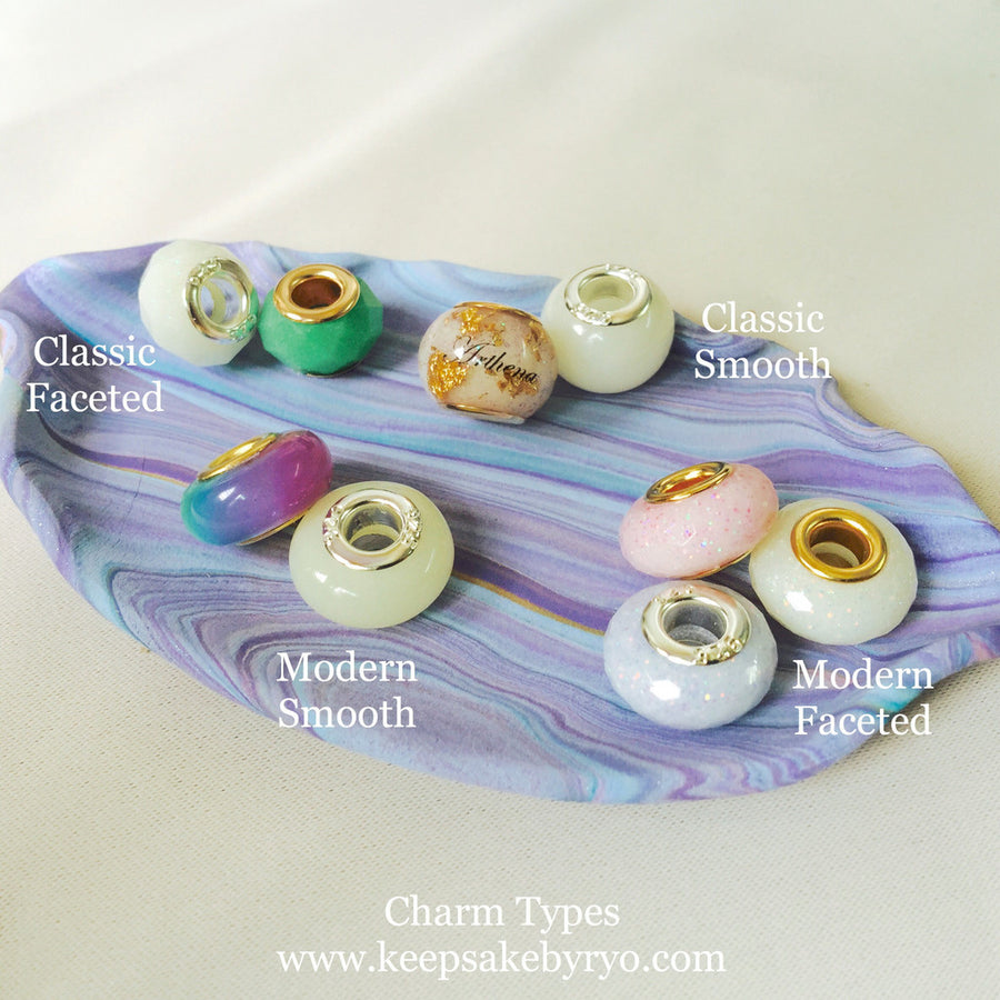 BREASTMILK EUROPEAN CHARM WITH MAJESTIC PURPLE MIX AND GOLD FLAKES