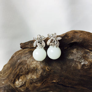 STERLING SILVER CUBIC ZIRCONIA FLORAL PEARL DROP STUD EARRINGS