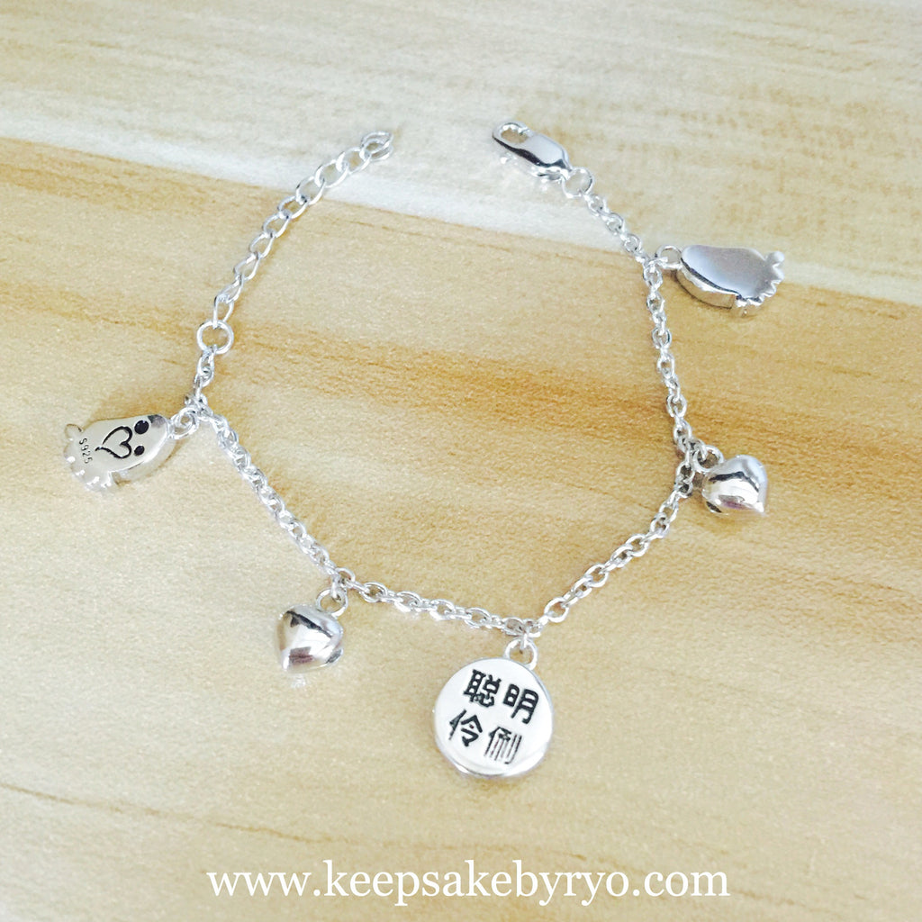 AUSPICIOUS CHARACTERS AND BABY FEET BABY ANKLET WITH HEART SHAPED BELLS