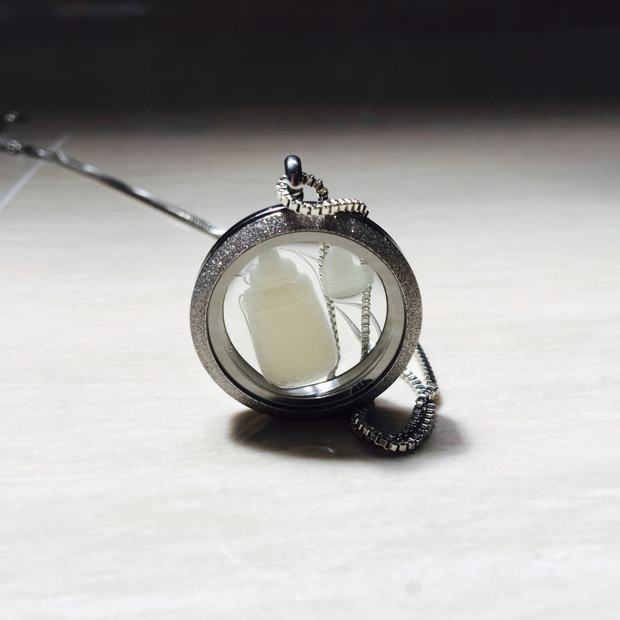 MILK BOTTLE AND HEART GLASS LOCKET