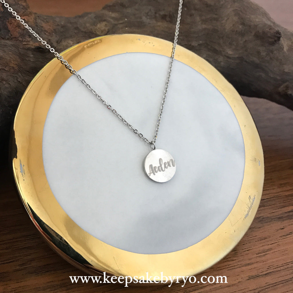 Engraved by Ryo: Dainty Pendant with Double Sided Engraving, Name & Baby Hand or Foot Print