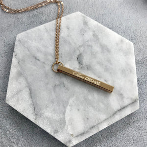 Engraved by Ryo: Vertical Bar Necklace (Up to 4 Names)