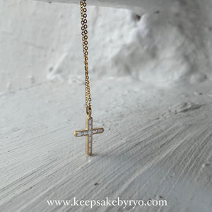 One-Piece: 18K Yellow Gold Cross with 10x Baguette Crystals