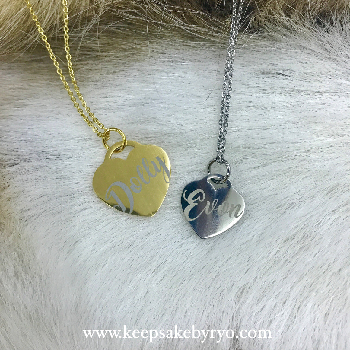 Engraved by Ryo: Mummy & Baby Necklace Pair (Set of 2)