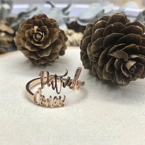 ENGRAVED BY RYO: DOUBLE NAME RING
