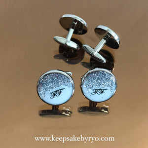 CUFFLINKS WITH GRADIENT GLITTER AND NAME