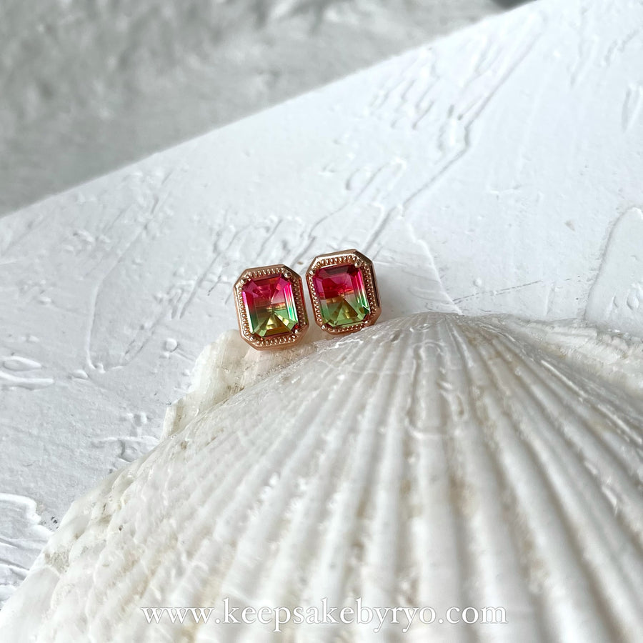 KEEPLETS COLLECTION: WATERMELON TOURMALINE EAR STUDS