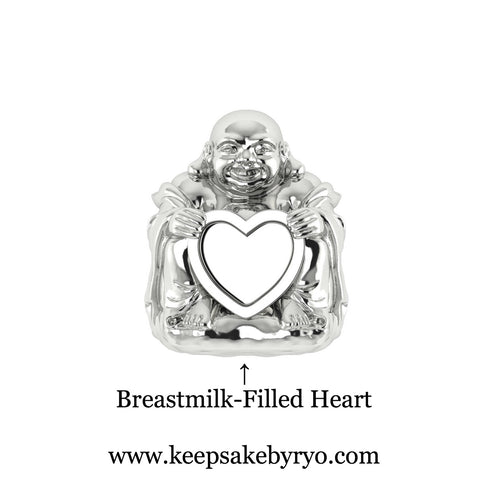 LAUGHING BUDDHA WITH BREASTMILK HEART CHARM