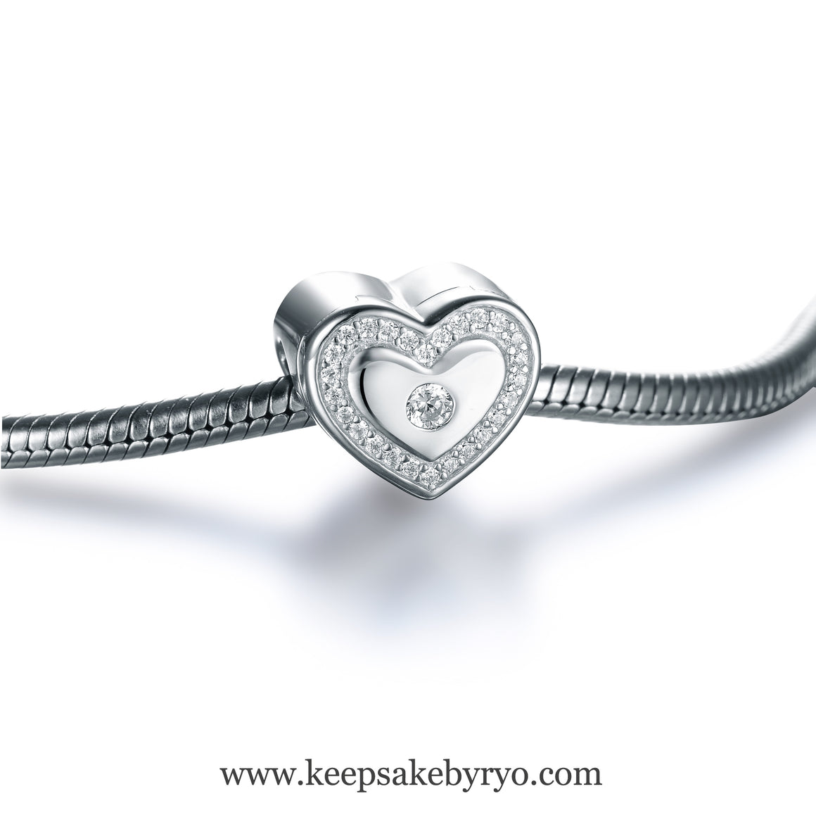 STERLING SILVER STUDDED HEART TREASURE CHEST CHARM