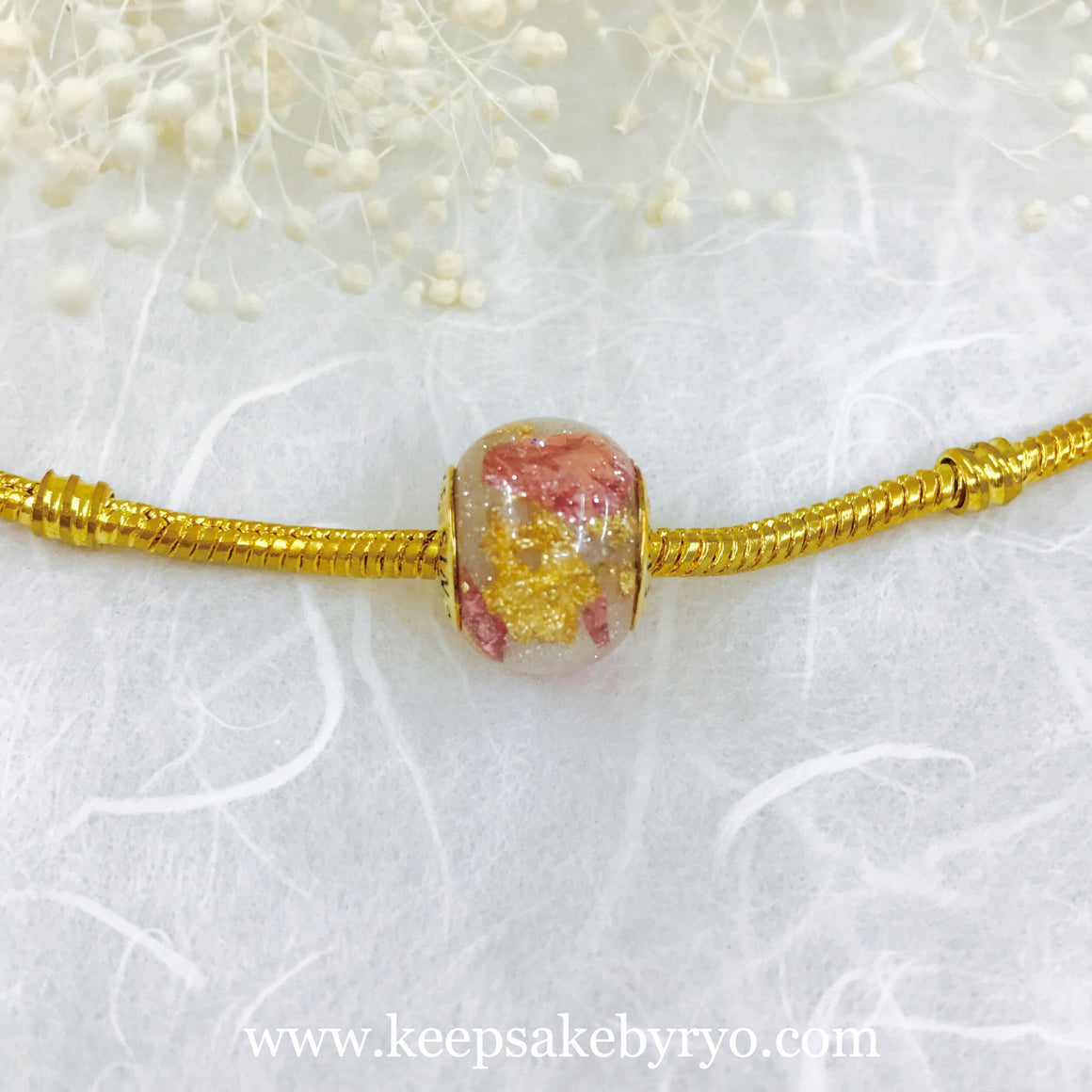 ROSE AND GOLD FLAKES SHIMMER BREASTMILK EUROPEAN CHARM