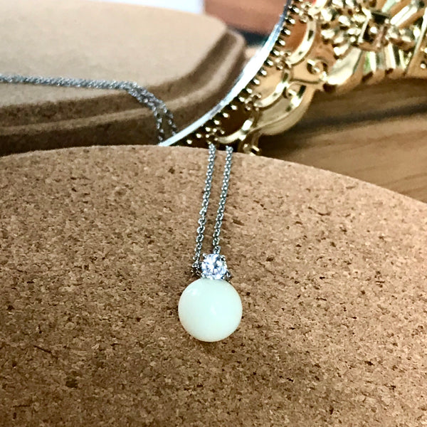 DIANA BREASTMILK PEARL WITH CUBIC ZIRCONIA PENDANT NECKLACE
