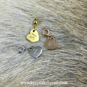 Engraved by Ryo: Double Sided Charm with Initial & Baby Hand or Foot Print
