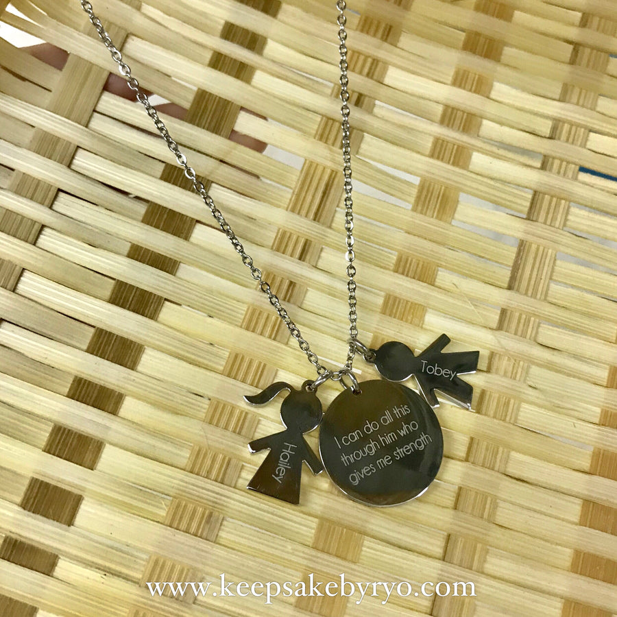 ENGRAVED BY RYO: GIRL/BOY NECKLACE WITH ENGRAVING