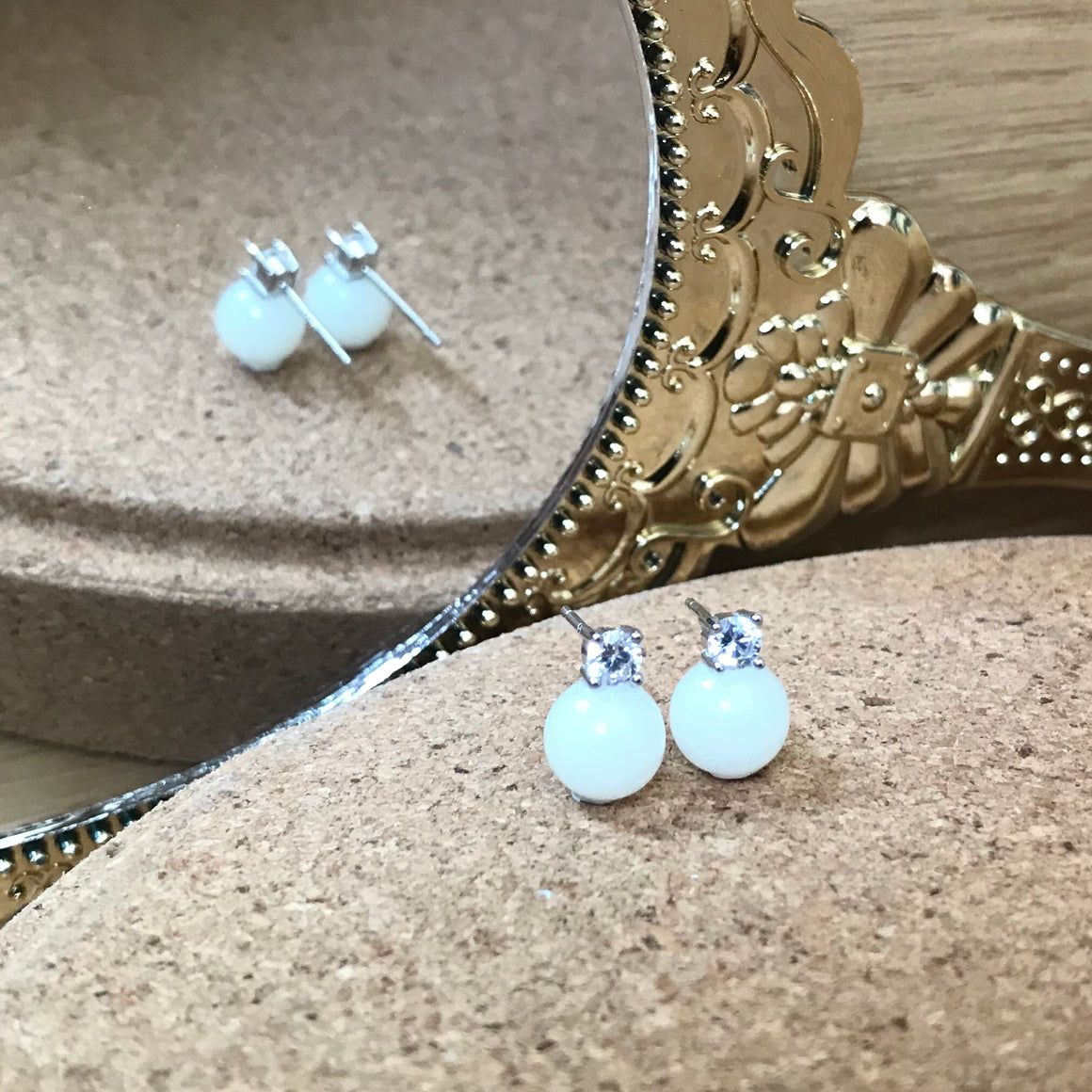 DIANA BREASTMILK PEARL WITH CUBIC ZIRCONIA EAR STUDS