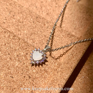 SOLITAIRE: AURORA NECKLACE PENDANT WITH BREASTMILK SOLITAIRE