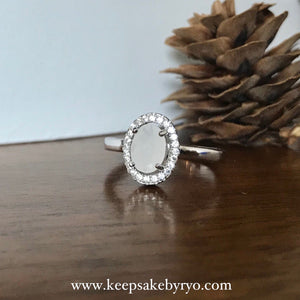 SOLITAIRE: VENUS OVAL PAVE BREASTMILK RING
