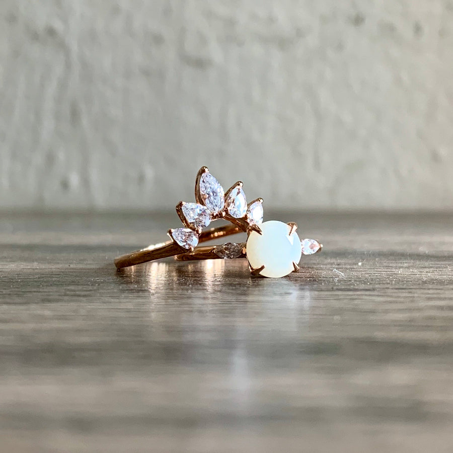 SOLITAIRE: ASHLYN STACKING DUO RINGS WITH BREASTMILK SOLITAIRE
