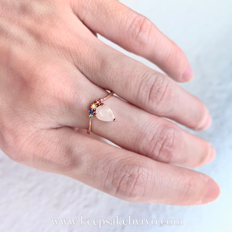 SOLITAIRE: COVA RAINBOW DROP BREASTMILK RING