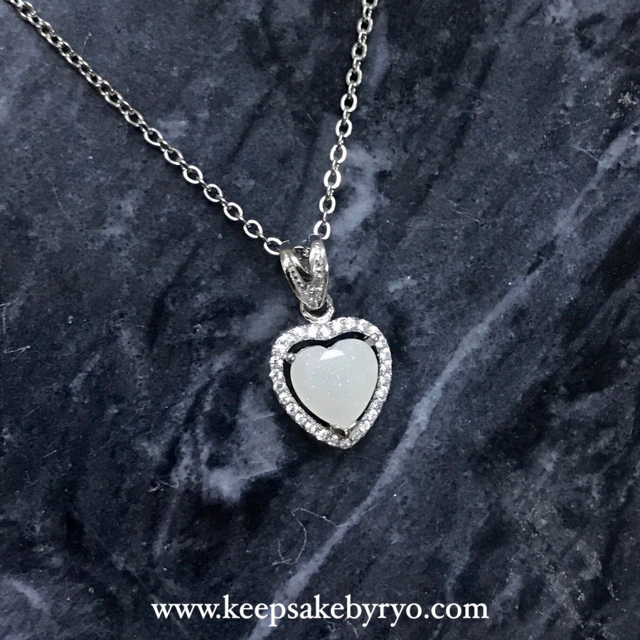 SOLITAIRE: PAVE HEART PENDANT WITH HEART SHAPED BREASTMILK STONE