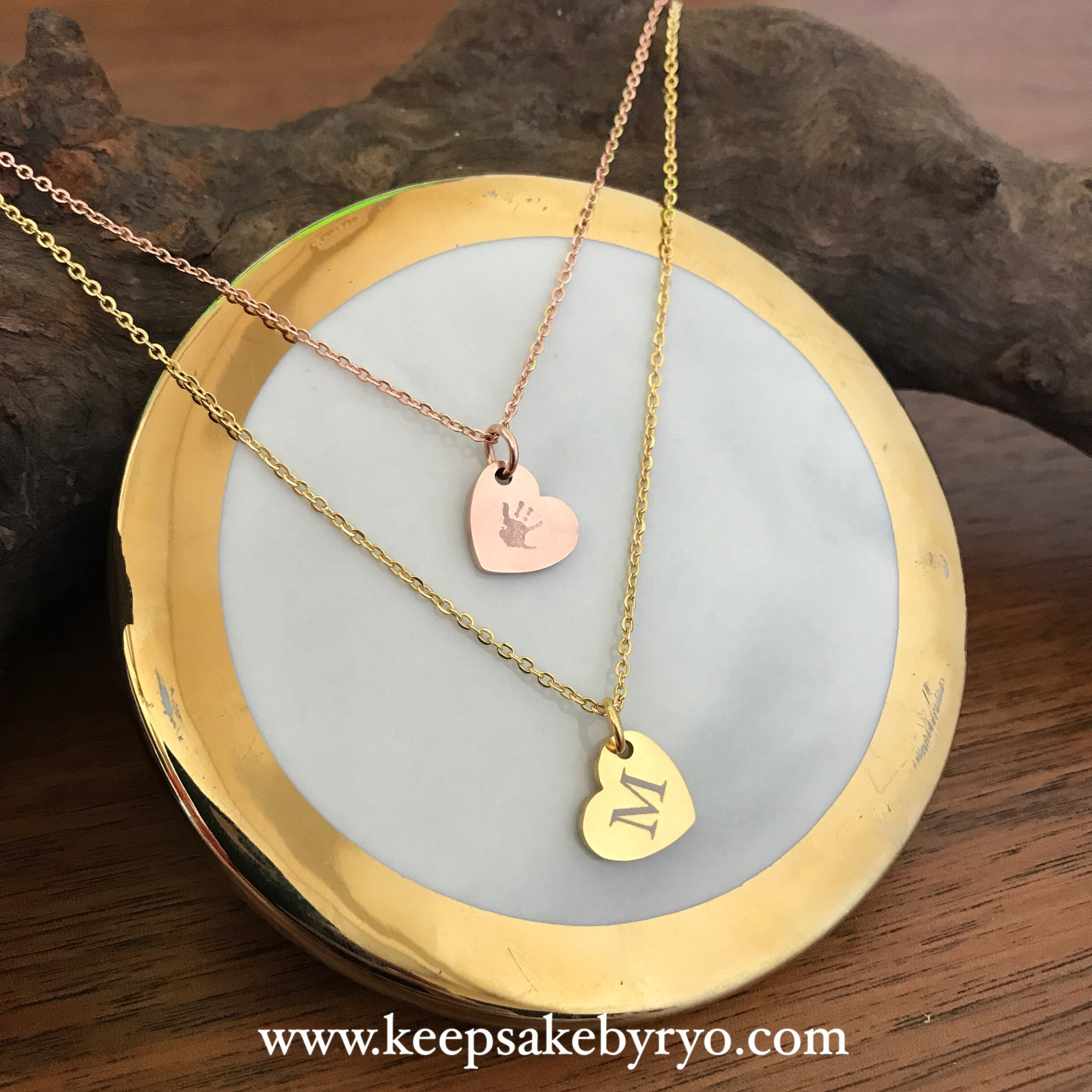 da4ba6ba2 Engraved by Ryo: Trio of Hearts Necklace, Double Sided with Initial & Hand  Or Foot Print