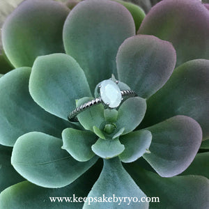 SOLITAIRE: NAUTICAL BAND RING WITH OVAL BREASTMILK STONE