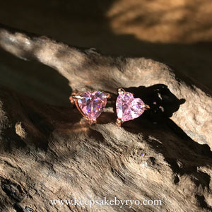 BIRTHSTONE GEMS: HEART SHAPED EAR STUDS