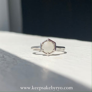 SOLITAIRE: HEXI RING WITH BREASTMILK SOLITAIRE