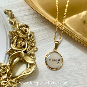 CLASSIC ROUND BREASTMILK PENDANT WITH CALLIGRAPHY TEXT