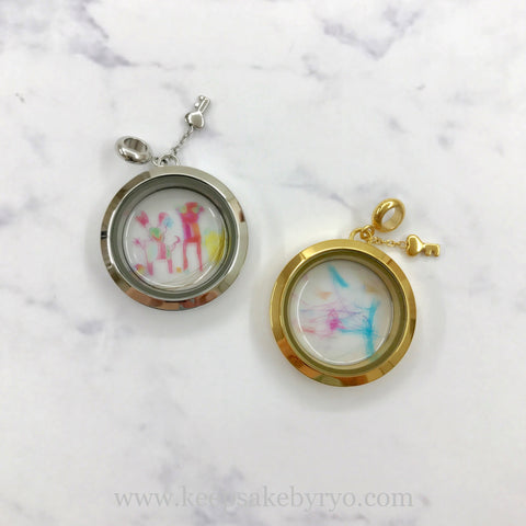 CUSTOM LITTLE ONE'S ARTWORK GLASS LOCKET (HAIRCURL OPTIONAL)