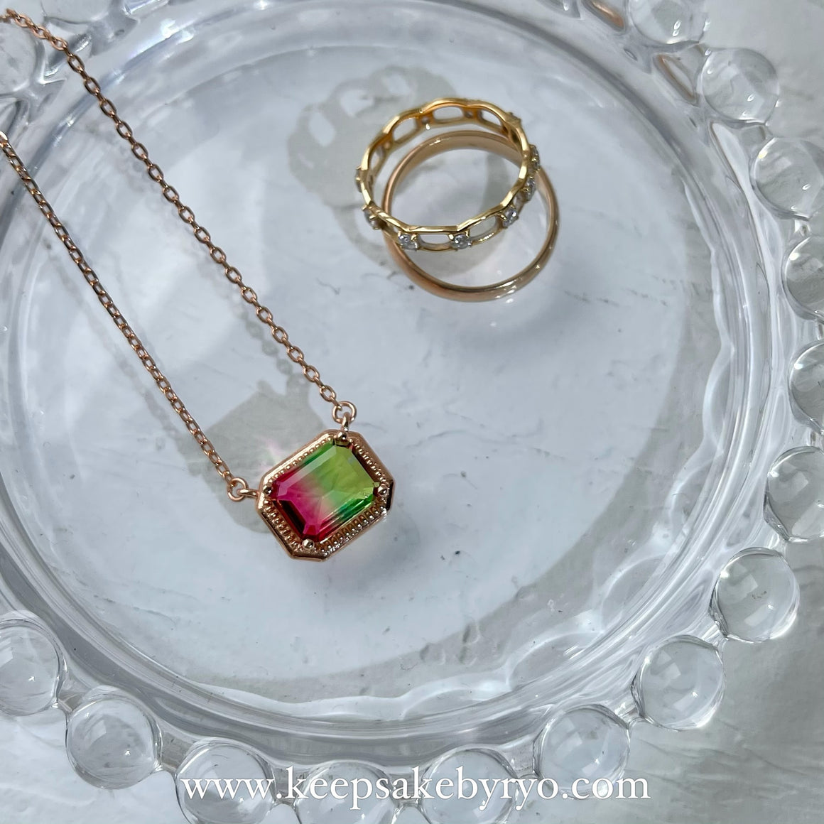 KEEPLETS COLLECTION: WATERMELON TOURMALINE NECKLACE