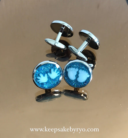 CUFFLINKS WITH BABY PALM AND/OR FOOT PRINTS