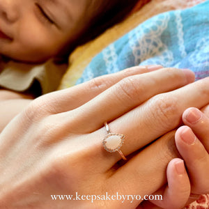 SOLITAIRE: ARYA TEARDROP BREASTMILK RING