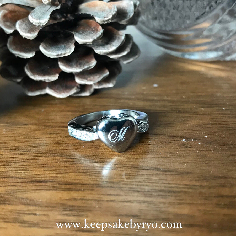 Cremation Memorial Laser Engraved Beloved Initial Heart Ring