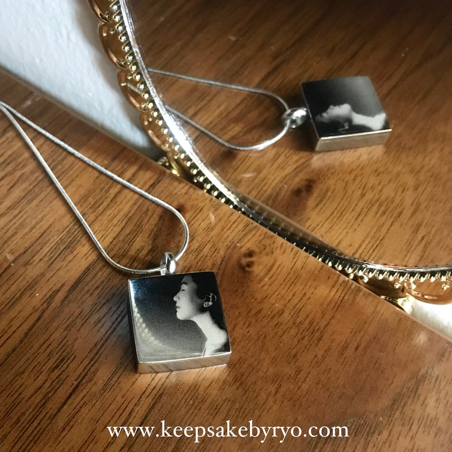 Cremation Memorial Laser Engraved Square Pendant Necklace (Double Sided Engraving)