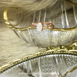 SOLITAIRE: NADIA RING WITH OVAL BREASTMILK STONE