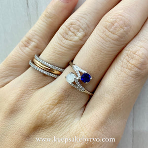 SOLITAIRE: LUNA BREASTMILK AND BIRTHSTONE DUO RING