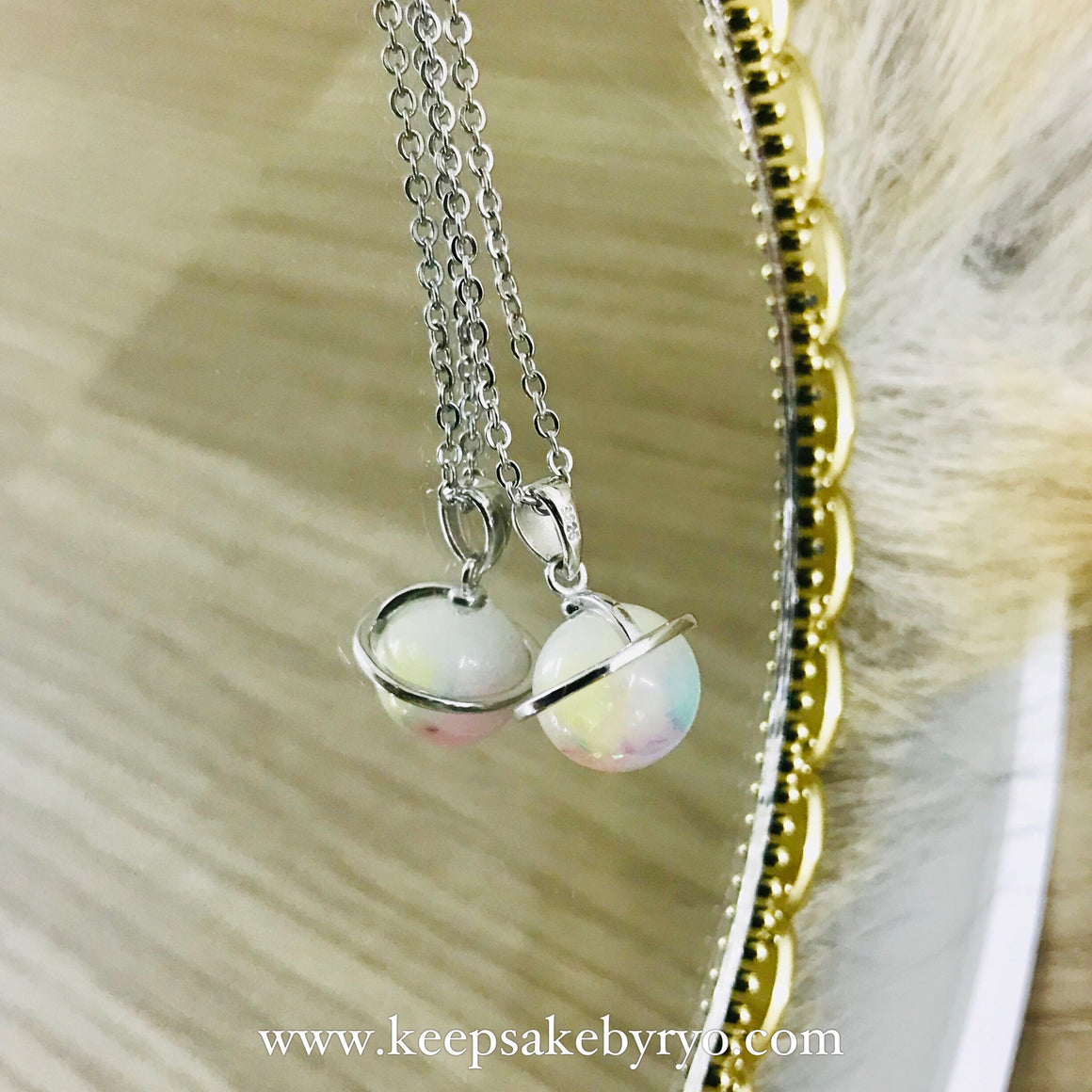 GLOBES: Pastel Rainbow Breastmilk Galaxy Globe (Necklace or Charm)