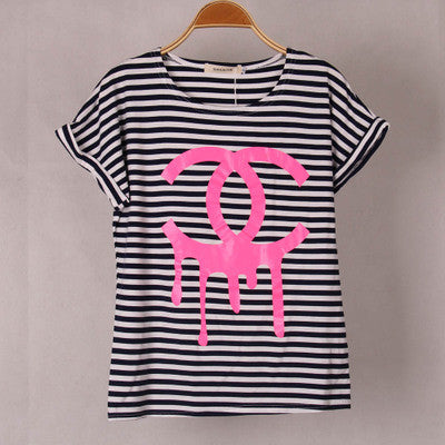 """ Channel "" Like Logo Print Navy Stripes Cotton Round Neck Short Sleeve Women Cotton Casual Shirt Sweatshirt Top Blouse T-Shirt _ 1822"