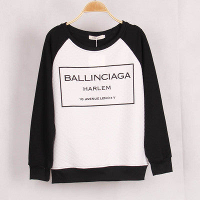 """ Ballinciaga "" Round Neck Long Sleeve Women Cotton Casual Shirt Sweatshirt Top Blouse T-Shirt _ 1846"