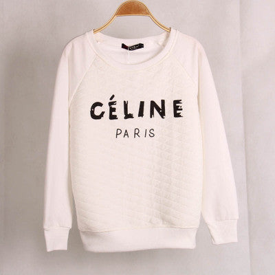""" Celine "" Print White Fashion Women Casual Sweatshirt Shirt Top Blouse T-Shirt _ 1857"