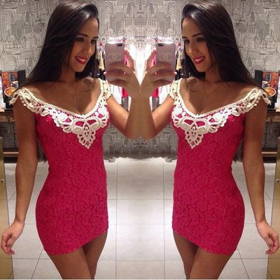 2016 Lace Sexy Pink Package Hip Erotic Casual Party Playsuit Bodycon Boho Dress  _ 3625