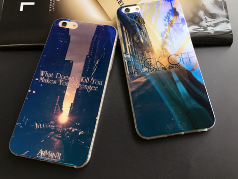 Blue Laser Printed Beautiful Scenary iPhone Case for iPhone 6/6s/6 Plus/6s Plus