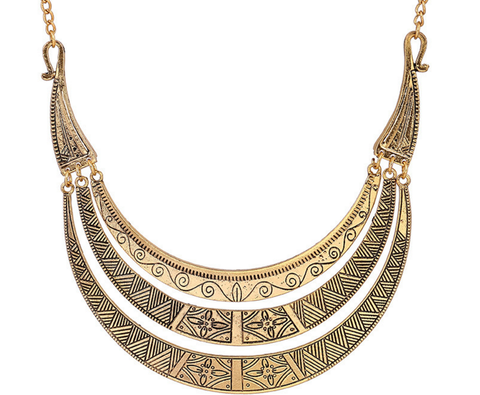Bohemian Fashion Metallic Crescent Necklace Jewelry