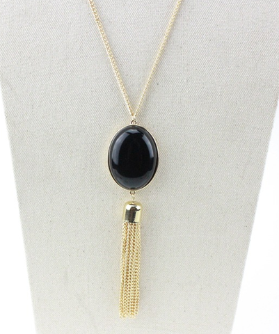 Black Pendant Tassel Stylish Fashion Necklace Jewelry