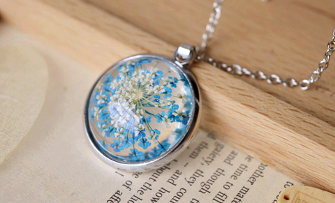 Blue Oval Pressed Flower Cute Girly Necklace Jewelry