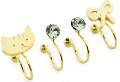 A Set of 4 Cat Cute Fashion Earrings Jewelry