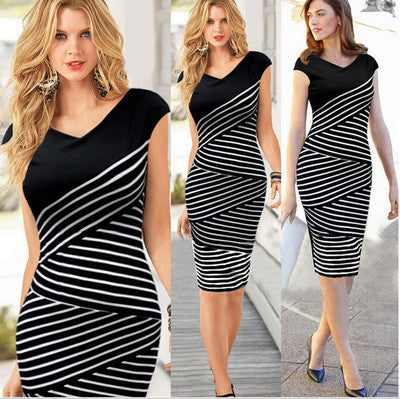 2016 Popular Black Sleeveless Elegant V Neck Fashion Women Stripes Printed Black White One Piece Dress _ 2090