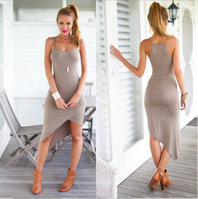 2016 Summer Fashion Slim Cut Package Hip Spagehetti Strap Sleeveless Handkerchief One Piece Dress _ 2086
