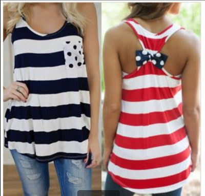 2016 Stripes Printed Polka Dot Top Women Tank Vest Shirt T-shirt _ 4523