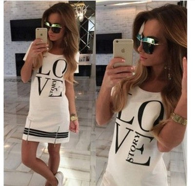 """ Love Story "" Casual Slim Fit Long Sleeve Women Top Shirt One Piece Dress"